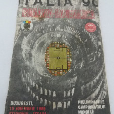 PROGRAM FOTBAL ROMÂNIA DANEMARCA/ 15 NOIEMBRIE1989/ITALIA 90/ STADIONUL STEAUA - Program meci