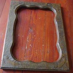 Rama veche deosebita din lemn pentru tablou oglinda sau fotografii !!! - Rama Tablou, Decupaj: Dreptunghiular
