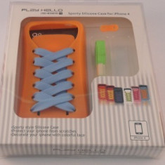 Husa silicon PlayHello iShoes iPhone 4 / 4S Portocaliu
