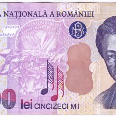 Bancnota 50.000 lei 2000 ( 50000 lei 2000 ) George Enescu Sfinxul Bucegi VF+(2) - Bancnota romaneasca