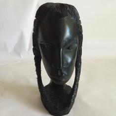 Statuie / bust din lemn de abanos femeia africana sculptat de mana 17cm - Sculptura