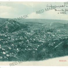 252 - RESITA, Panorama - old double postcard - used - 1907 - Carte Postala Banat 1904-1918, Circulata, Printata