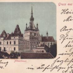 SIGHISOARA, SALUTARI DIN SIGHISOARA, ALBERTHAUS, CIRCULATA MAI*900 - Carte Postala Transilvania pana la 1904, Printata
