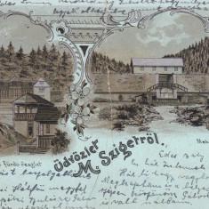 SIGHETU MARMATIEI, SALUTARI DIN SIGHETUL MARMATIEI LITOGRAFIE CIRC. 1903 - Carte Postala Maramures pana la 1904, Circulata, Printata