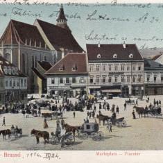 BRASOV, PIATA, TARG, MAGAZINE, TRASURI, CLASICA, CIRCULATA 1904 - Carte Postala Transilvania pana la 1904, Printata