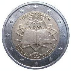 AUSTRIA 2 euro comemorativa 2007-Tratat Roma, UNC, Europa, Cupru-Nichel