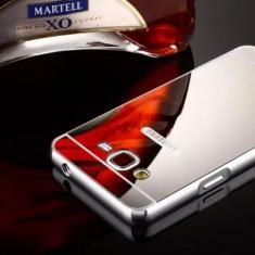 Bumper Samsung Galaxy Grand Prime G530H Aluminiu + Capac Mirror Silver - Husa Telefon Samsung, Gri, Metal / Aluminiu, Fara snur, Carcasa