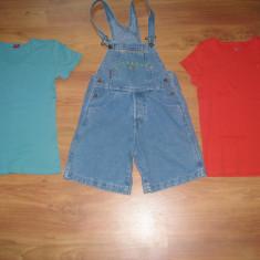 Set salopeta jeans MAGVEST + 2 tricouri (Esprit, S. Oliver), noi, fetite 8-9 ani, Fete