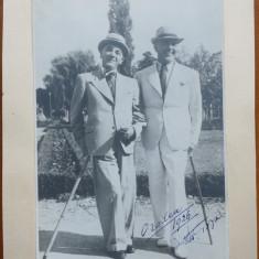Petru Groza impreuna cu Prof. Aurel Popa , Oradea 1926 , fotografie cu autograf