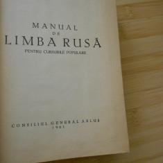 MANUAL DE LIMBA RUSA PENTRU CURSURILE POPULARE-- 1961