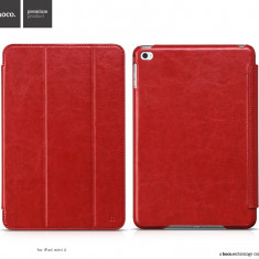 Husa / toc LUX piele fina HOCO Crystal, iPad MINI 4, smart cover, ROSU - Husa Tableta