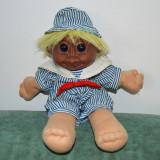 Papusa Troll (pitic, trol), 28 cm, par galben, corp textil, cap cauciuc maro