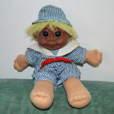 M - Papusa Troll (pitic, trol), 28 cm, par galben, corp textil, cap cauciuc maro