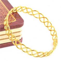 Superba bratara 9k GOLD FILLED rotunda cu model - Bratara placate cu aur