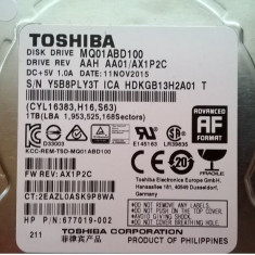 HDD SATA Hard disk Laptop Notebook 1TB TOSHIBA MQ01ABD100 5400RPM 8MB pret REDUS, Peste 1 TB, 5400, SATA2, Hitachi