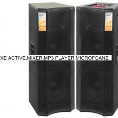 2 BOXE ACTIVE/AMPLIFICATE, MIXER, STATIE, MP3 PLAYER, BLUETOOTH, 2 MIC. WIRELESS . - Echipament karaoke
