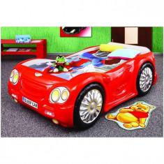 Pat Masina Copii Sleep Car - Plastiko - Rosu - Pat tematic pentru copii Plastiko, 180X80cm
