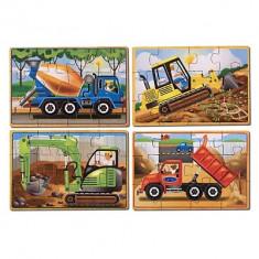 Set 4 Puzzle Melissa & Doug Lemn In Cutie Vehicule Pentru Constructii Melissa And Doug