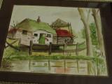 Tablou cu rama din lemn si sticla / Acuarela peisaj de tara - anul 1951 / semnat, Peisaje, Ulei, Altul