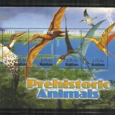 F 249 - ANIMALE PREISTORICE - MALDIVE - COLITA NESTAMPILATA - Timbre straine