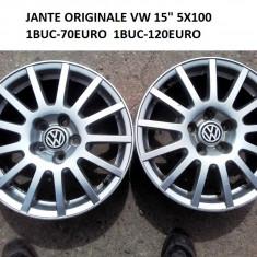 2BUC JANTE ORIGINALE VW 15 5X100 - Janta aliaj Volkswagen, Latime janta: 6, Numar prezoane: 5