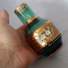 VAZA UNICAT CRISTAL VERDE FOITA AUR STICLA CRISTAL BOHEMIA - Vaza sticla