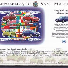 Automobile, marea industrie, W, San Marino. - Timbre straine, Nestampilat