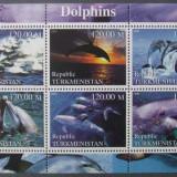 TURKMENISTAN 2000 - DELFINI, 1 M/SH NEOBLITERATA - TU PLR 2, Transporturi