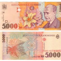 SV * Romania   5000  LEI  1998  *  Filigran BNR Drept  *  Lucian Blaga     UNC