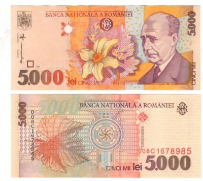 SV * Romania  5000  LEI  1998 / 2000 * Filigran MARE BNR * Lucian Blaga     UNC foto