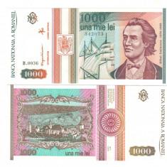 SV * Romania  BNR  1000  LEI  1993  mai    Mihai Eminescu     UNC