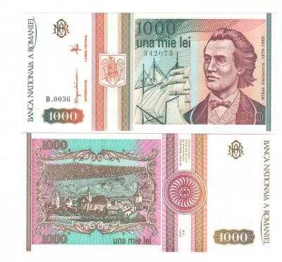 SV * Romania  BNR  1000 LEI 1993  mai * Mihai Eminescu * seria B.0031       UNC foto