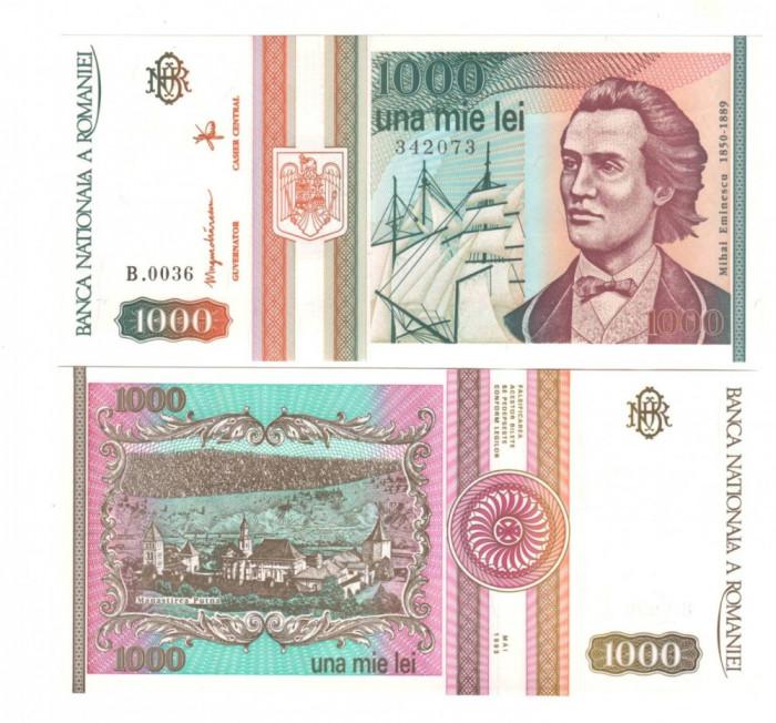 SV * Romania  BNR  1000 LEI 1993  mai * Mihai Eminescu * seria B.0031       UNC
