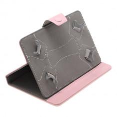 Husa Tableta 7 Inch Model X, Roz, Tip Mapa, Prindere 4 Cleme C89, Universal