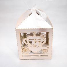 Marturie nunta/botez  Cutiuta cadou carton sidefat marturii cutie  Caleasca