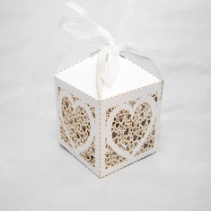 Marturie nunta/botez  Cutiuta cadou carton sidefat marturii cutie  Inima
