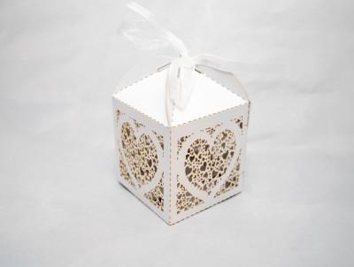 Marturie nunta/botez  Cutiuta cadou carton sidefat marturii cutie  Inima foto