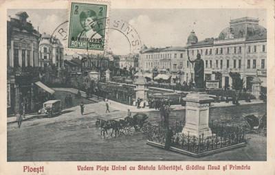 PLOIESTI  PIATA UNIREI CU STATUIA LIBERTATII GADINA NOUA SI PRIMARIA  TCV 1930 foto