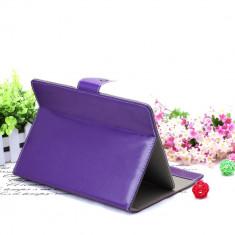 Husa Tableta 7 Inch Model X, Mov, Tip Mapa, Prindere 4 Cleme C90, Universal