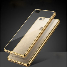 Husa HUAWEI Ascend P8 Lite TPU Margine Gold - Husa Telefon Huawei, Huawei P8, Transparent, Gel TPU, Fara snur, Carcasa