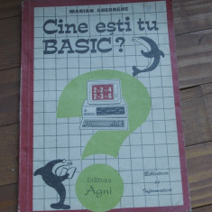 Carte Cine esti tu Basic de Marian Gheorghe / biblioteca de informatica 1994 !!!