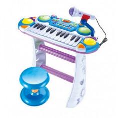 Orga cu scaunel si microfon pentru copii BB335B - Instrumente muzicale copii