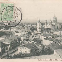 PLOIESTI, VEDERE GENERALA CU BISERICA SF. VINERI, TCV, CIRCULATA APR. 1927 - Carte Postala Muntenia dupa 1918, Printata
