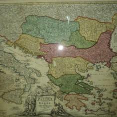 Harta Dunarii si Arhipelagurile Grecesti, Johann Baptist Homann 1710 - Harta Romaniei