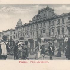 PLOIESTI, PIATA LEGUMELORI, BACANIA CENTRAL...CIRCULATA MAR. ''900 - Carte Postala Muntenia pana la 1904, Printata