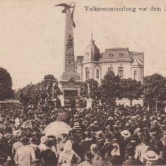 PLOIESTI, MONUMENTUL VANATORILOR, ADUNARE POPULARA, CIRCULATA 1919 - Carte Postala Muntenia 1904-1918, Printata