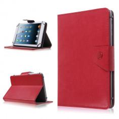 Husa Tableta 7 Inch Model X, Rosu, Tip Mapa, Prindere 4 Cleme C87, Universal