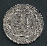 RUSIA URSS 20  COPEICI  KOPEICI  KOPEEK  1946  [5]   livrare in cartonas, Europa, Cupru-Nichel