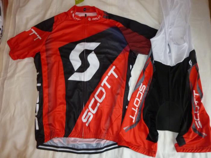 echipament ciclism scott rc rosu set tricou pantaloni cu bretele  jersey bib NOU