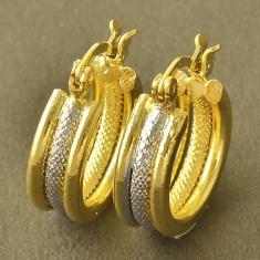 Cercei tortita filati placati cu aur galben si alb 14k gold filled + sac cadou - Cercei placati cu aur Guess